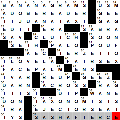 York Times Crossword Answers 18 January 2014
