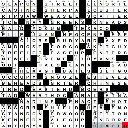 York Times Crossword Answers 26 January 2014 Sunday